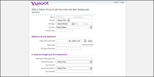 Fill out info on Yahoo